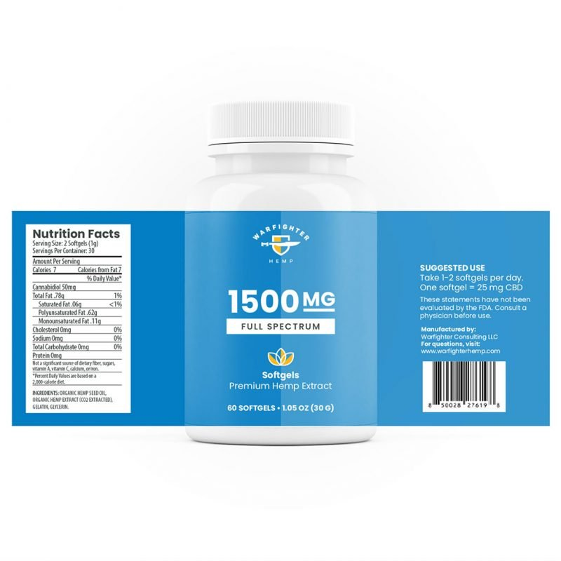 1500 mg Full Spectrum CBD SoftGel Capsules - 60 count