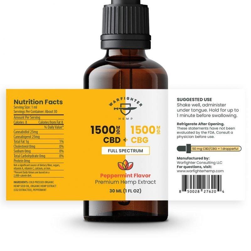 1500 CBG / 1500 CBD Full Spectrum Relief Tincture - Peppermint