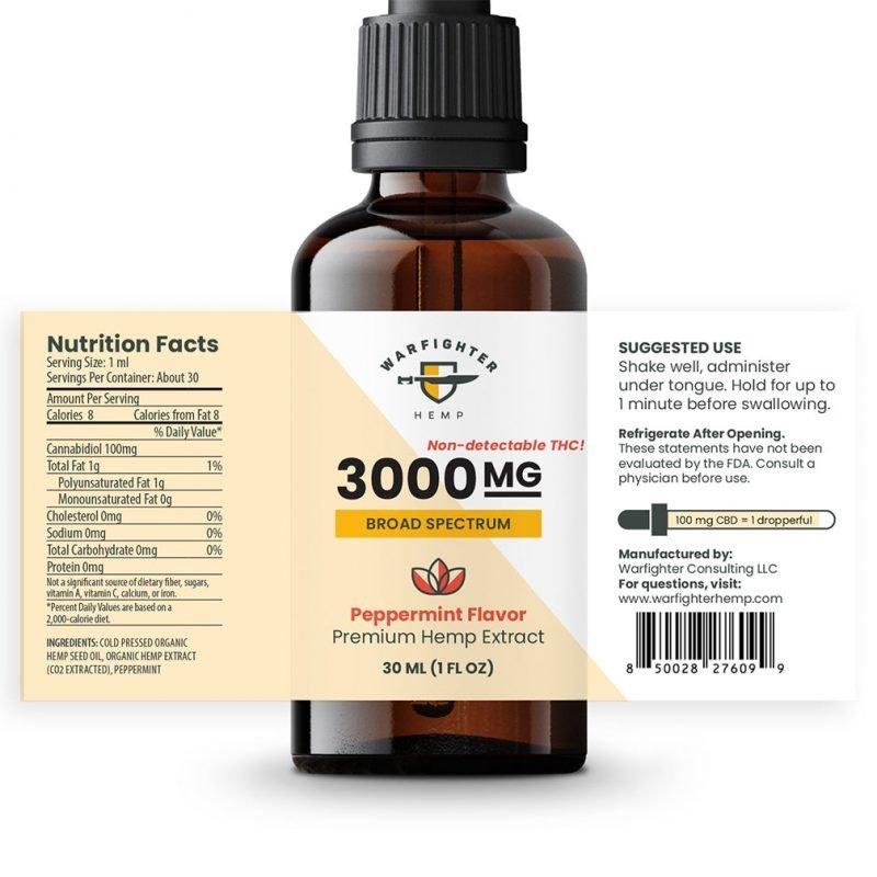 3000 mg CBD Oil Broad Spectrum Hemp Tincture - Peppermint