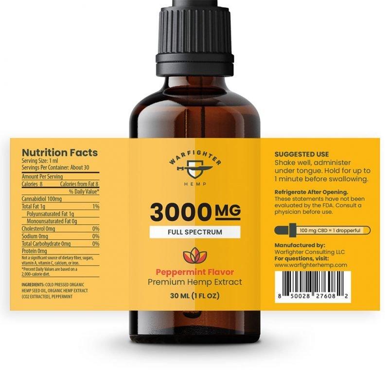3000 mg CBD Oil Full Spectrum Hemp Tincture - Peppermint