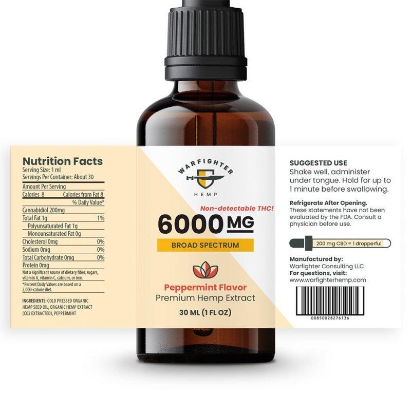 6000 mg CBD Oil Broad Spectrum Hemp Tincture - Peppermint