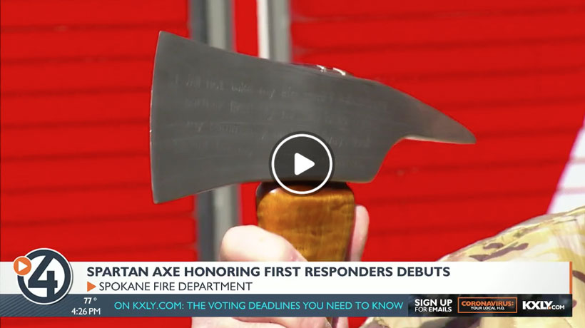 KXLY - Local veteran creates 'Spartan Axe' to honor first responders