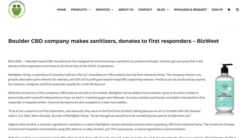 LetzGetHigh – Boulder CBD company makes sanitizers, donates to first responders – BizWest