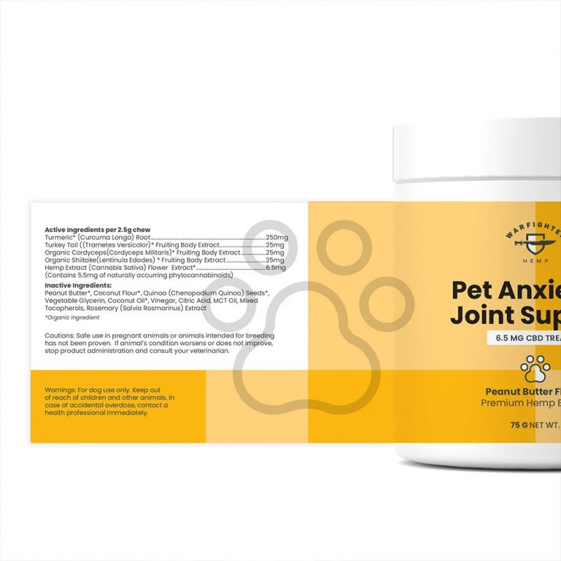 Peanut Butter Flavor Full Spectrum 250 mg CBD Dog Treats for Anxiety and Joint Support