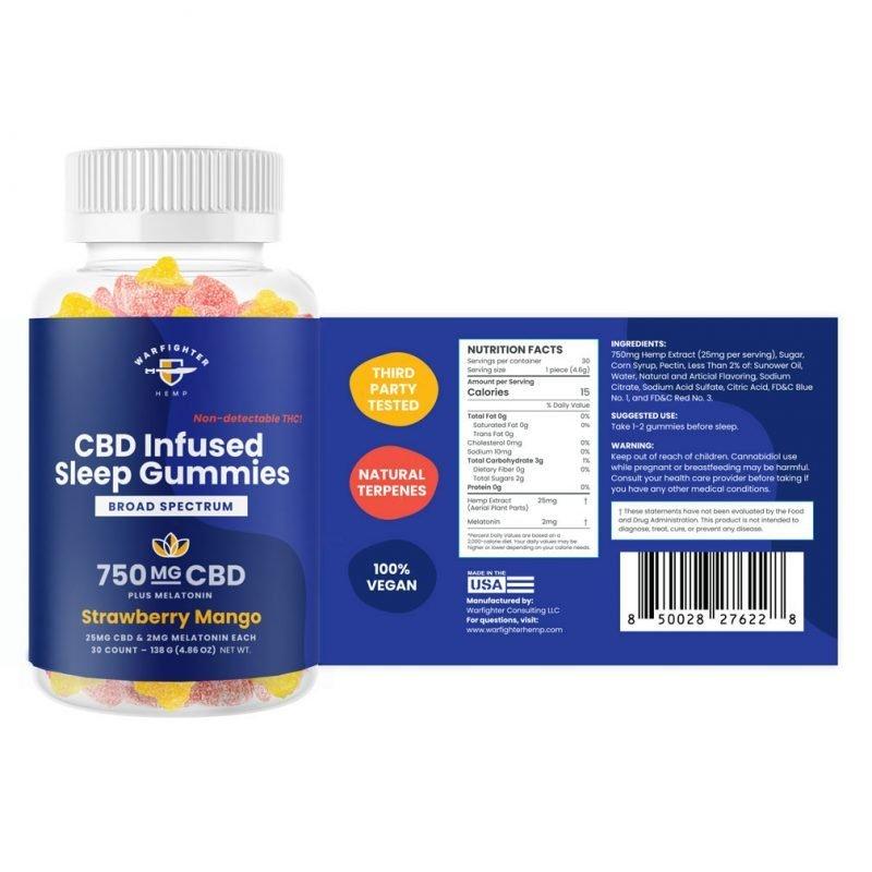 Sleep Gummies 750 mg CBD +Melatonin Broad Spectrum