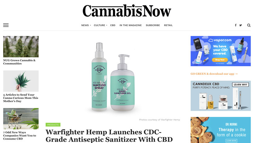 Warfighter Hemp Launches CDC-Grade Antiseptic Sanitizer With CBD