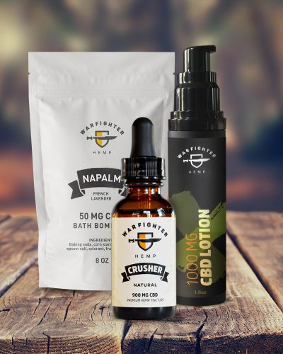 Warfighter Hemp Start Bundle Pack. Bath Bomb, Tincture, CBD Lotion
